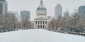 St. Louis courthouse in snow
